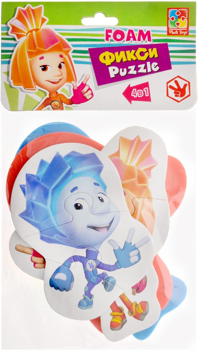Vladi Toys Пазл для малышей Фиксики 4 в 1 VT1106-44VT1106-44Пазл для малышей Vladi Toys Фиксики придется по душе вашему малышу. Набор включает в себя 4 пазла. Первый пазл включает в себя 3 элемента, второй пазл - 5 элементов и два пазла по 4 элемента. Собрав 4 пазла, вы получите картинки с изображением персонажей мультфильма Фиксики. Пазл - великолепная игра для семейного досуга. Сегодня собирание пазлов стало особенно популярным, главным образом, благодаря своей многообразной тематике, способной удовлетворить самый взыскательный вкус. Для детей это не только интересно, но и полезно. Собирание пазла развивает мелкую моторику ребенка, тренирует наблюдательность, логическое мышление, знакомит с окружающим миром, с цветом и разнообразными формами.