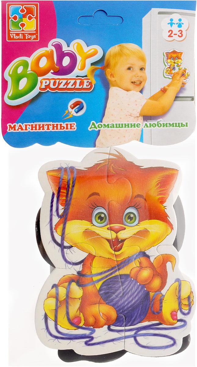 Vladi Toys Пазл для малышей Домашние любимцы 2 в 1VT3208-02Пазл для малышей Vladi Toys Домашние любимцы придется по душе вашему малышу. Набор включает в себя 2 пазла. Оба пазла состоят из 4 элементов. Собрав 2 пазла, вы получите картинки котенка и щенка. Пазл можно собирать на любой вертикальной магнитной поверхности. Пазл - великолепная игра для семейного досуга. Сегодня собирание пазлов стало особенно популярным, главным образом, благодаря своей многообразной тематике, способной удовлетворить самый взыскательный вкус. Для детей это не только интересно, но и полезно. Собирание пазла развивает мелкую моторику ребенка, тренирует наблюдательность, логическое мышление, знакомит с окружающим миром, с цветом и разнообразными формами.