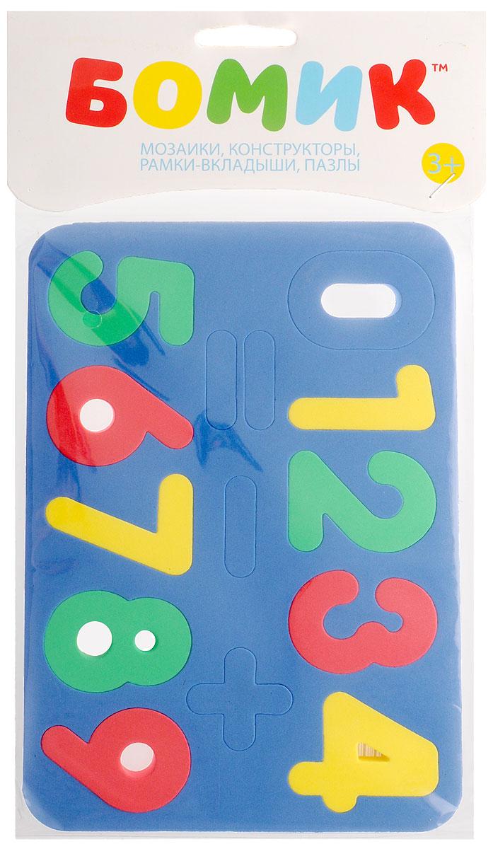 Бомик Пазл для малышей Цифры цвет основы синий204_синийМягкий пазл для малышей Бомик Цифры выполнен в виде рамки, на которой расположены разноцветные цифры от 0 до 9 и три математических знака. Пазл изготовлен из мягкого, прочного материала, вспененного этиленвинилацетата, который обеспечивает большую долговечность и является абсолютно безопасным для детей. Мягкий пазл для малышей Бомик Цифры развивает у ребенка моторику, цветовое восприятие, знакомит с цифрами и учит решать простейшие математические примеры. Обучение происходит прямо во время игры!