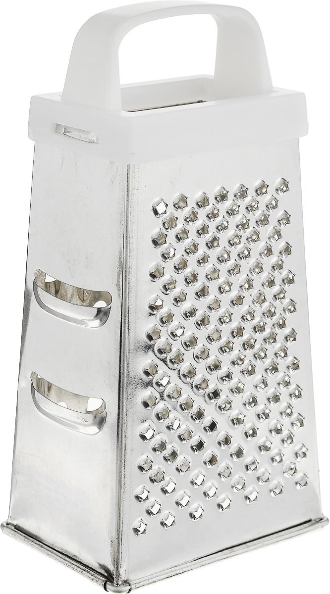 Терка Top Star, четырехгранная, цвет: белый, стальной, высота 17 см290383_белыйЧетырехгранная терка Top Star, выполненная из высококачественной хромированной стали, станет незаменимым атрибутом приготовления пищи. Терка оснащена удобной пластиковой ручкой. На одном изделии представлены четыре вида терок - крупная, средняя, мелкая и нарезка ломтиками. Современный стильный дизайн позволит терке занять достойное место на вашей кухне. Высота терки: 17 см. Размер основания: 8,8 х 6,2 см.