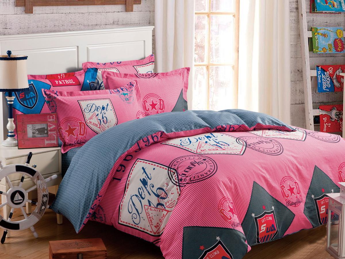 """Cleo (текстиль) Комплект белья Cleo """"Манускрипт декор"""", семейный, наволочки 50x70, 70x70, цвет: розовый. 41/140-SP"""