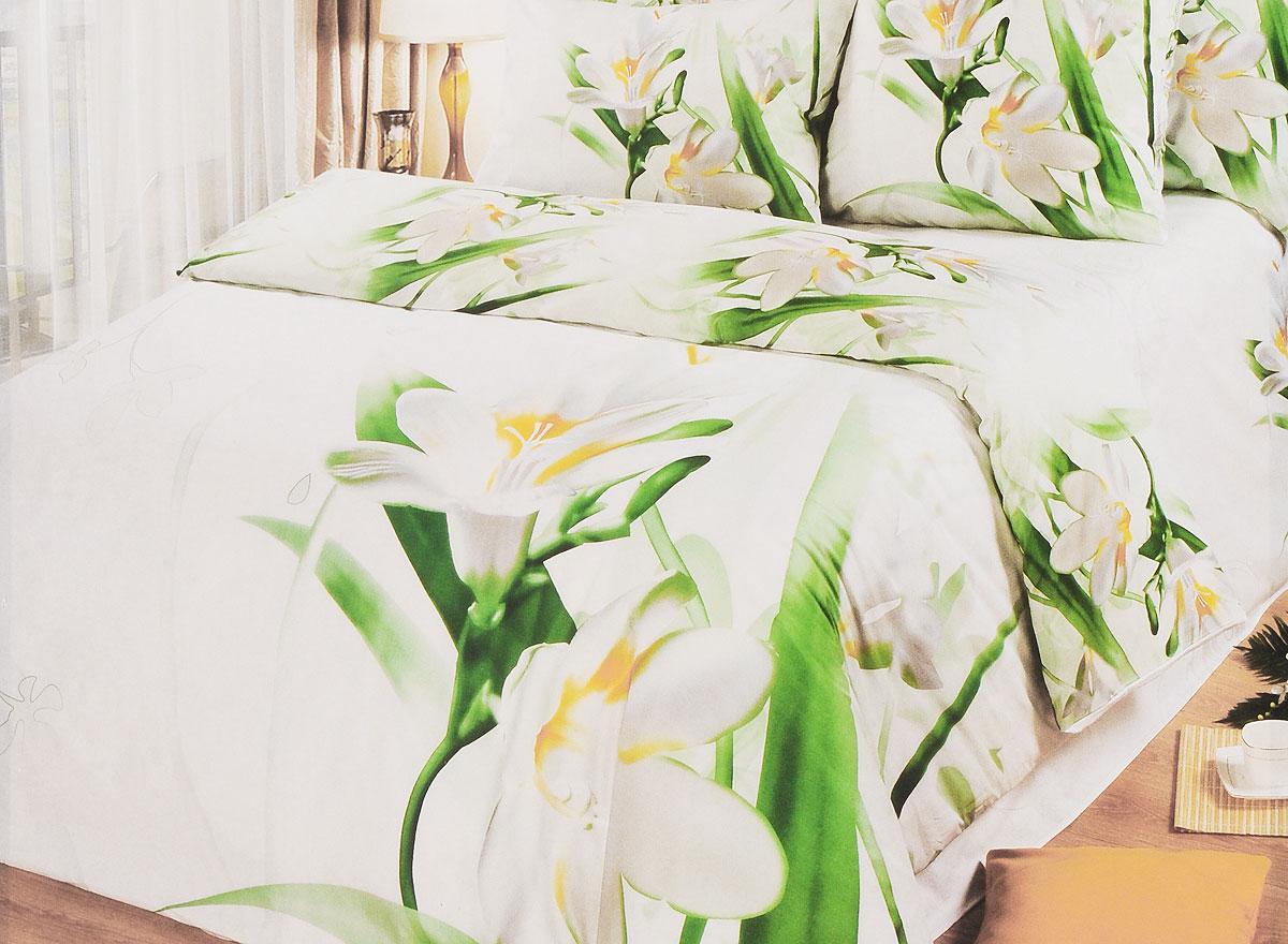 Комплект белья Арт Постель Подснежник, 2,0-спальный, наволочки 70х50 и 70x70, цвет: белый, зеленый, желтый756/1_2,0-спальный белый,зеленый,желтыйКомплект белья Арт Постель Подснежник, 2,0-спальный, наволочки 70х50 и 70x70, цвет: белый, зеленый, желтый