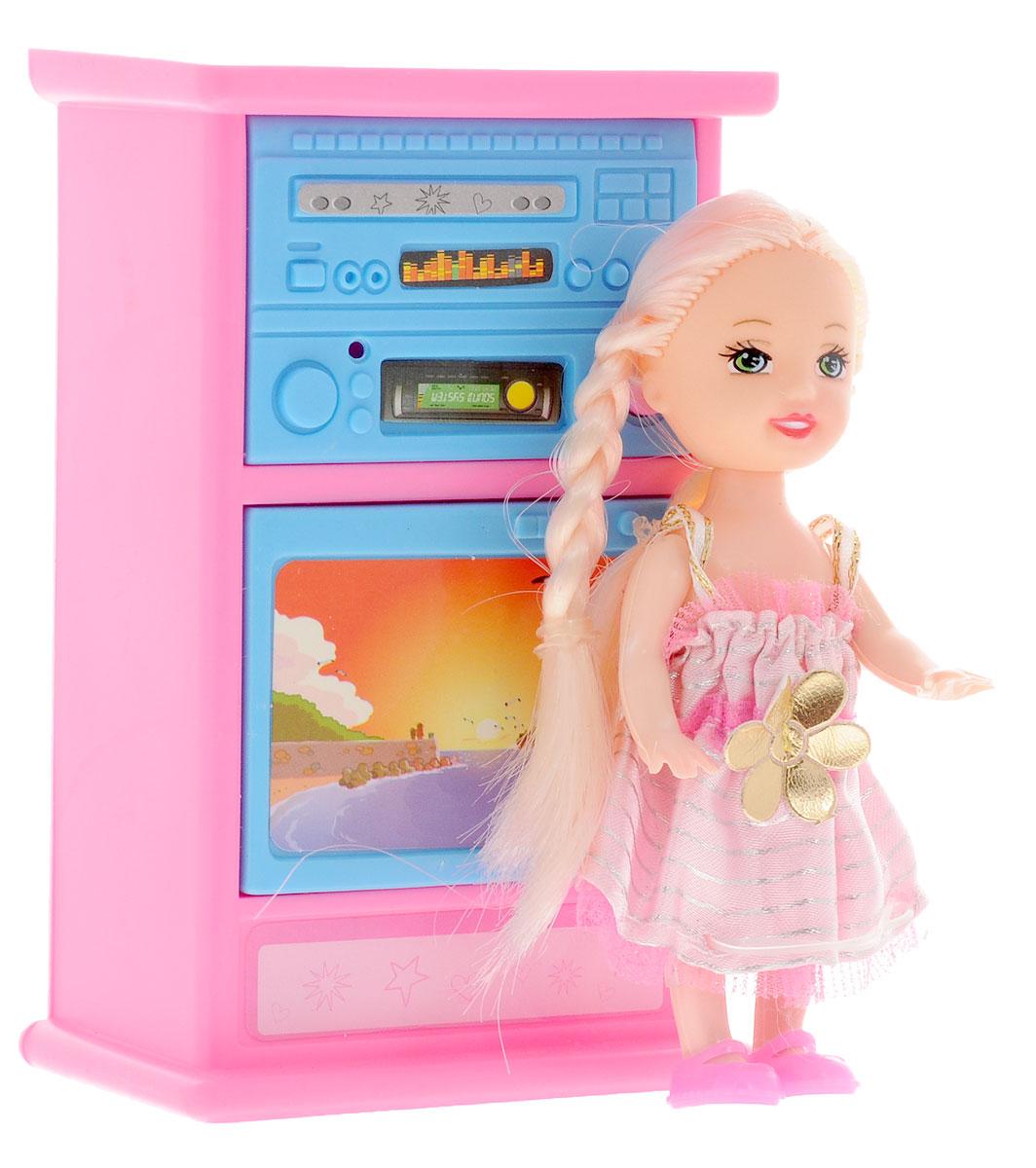 Shantou Игровой набор с мини-куклой Bettina со шкафом и телевизоромL091-H43654_шкаф + телевизорИгровой набор с мини-куклой Shantou Bettina - это прекрасное развлечение для вашей дочурки. Кукла одета в длинное розовое платьице, а на ногах у нее розовые туфельки. Длинные белокурые волосы куклы можно расчесывать и делать из них различные прически. Руки, ноги и голова куклы подвижные. В набор с куколкой входит шкаф со встроенным телевизором. Игры с таким набором способствуют эмоциональному развитию ребенка, а также помогают формировать воображение и художественный вкус. Порадуйте свою малышку таким интересным подарком!