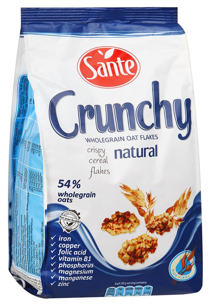 Sante Crunchy хрустящие овсяные хлопья оригинальные, 350 г5900617002228Хрустящие овсяные хлопья Sante Crunchy - питательная смесь хрустящих, золотистых, нежно обжаренных овсяных хлопьев. Продукт обеспечивает сбалансированное питание за счет полезных ингредиентов: белок, клетчатка, растительные жиры с высоким содержанием полезных жирных кислот, витаминов, микро- и макроэлементов, которые помогают поддерживать энергию и тонус в течение всего дня. Основной элемент Crunchy - это цельнозерновой овес, который имеет более высокую питательную ценность по сравнению с другими злаками, такими как пшеница и рожь. Зерно овса богато белком, незаменимыми аминокислотами (особенно лизином, который отсутствует в других зерновых). Содержание фосфора, меди и фолиевой кислоты способствуют укреплению костей и зубов. Медь также улучшает процесс обмена веществ. А фолиевая кислота способствует правильному функционированию иммунной системы. Уважаемые клиенты! Обращаем ваше внимание, что полный перечень состава продукта представлен на дополнительном изображении.