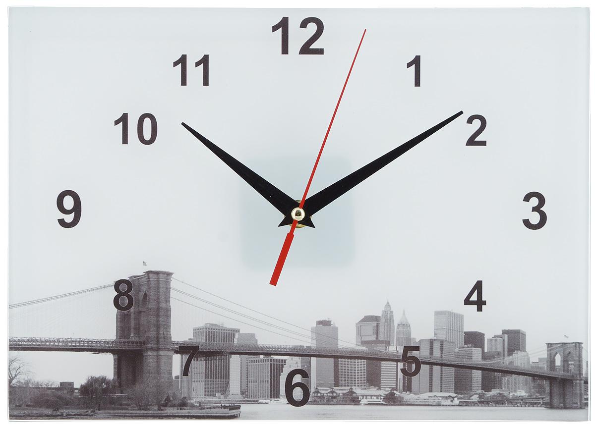 Часы настенные Эврика Мост, 20 х 28 см95308Оригинальные настенные часы Эврика Мост прямоугольной формы выполнены из стекла. Часы имеют три стрелки - часовую, минутную и секундную и циферблат с цифрами. Необычное дизайнерское решение и качество исполнения придутся по вкусу каждому. Часы работают от 1 батарейки типа АА напряжением 1,5 В.