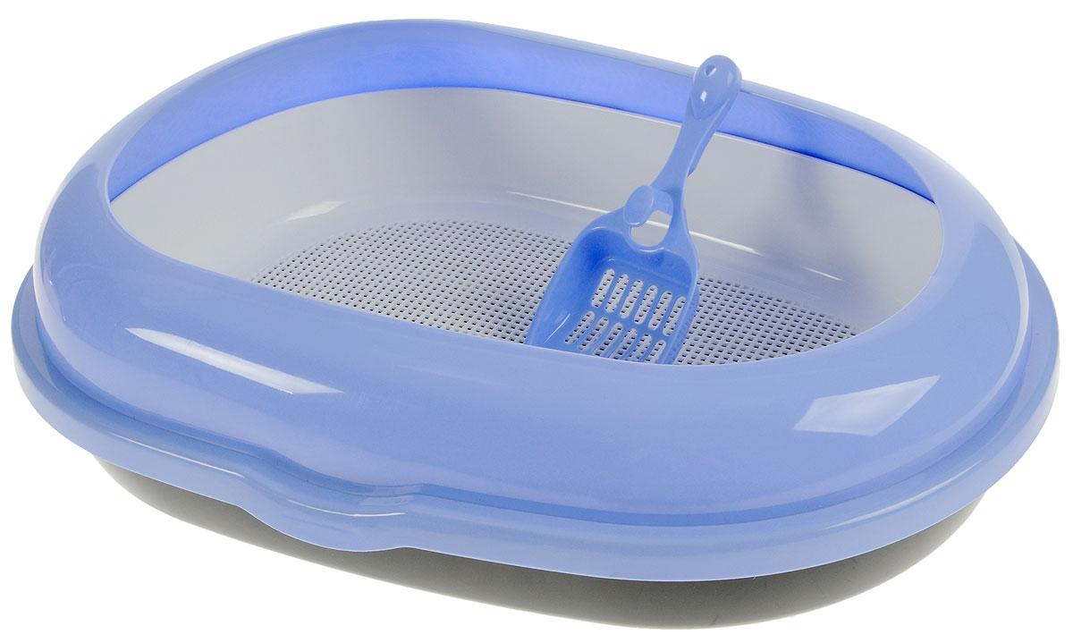 Туалет для кошек Каскад, с сеткой, с совком, цвет: белый, голубой, 60 х 44 х 17 см9312218_голубойТуалет для кошек Каскад, изготовленный из качественного прочного пластика, оснащен съемной сеткой. Высокий борт, прикрепленный по периметру лотка, удобно защелкивается и предотвращает разбрасывание наполнителя. Это самый простой в употреблении предмет обихода для кошек и котов. К лотку прилагается совок для уборки кошачьего туалета, изготовленный из качественного пластика. Совок с крупной сеткой позволит освободить туалет от образовавшихся комков и просеять наполнитель. На ручке совка есть отверстие для подвешивания на стену. С помощью этого совка вы сможете быстро и качественно убрать туалет кошки. Длина совка: 23 см.