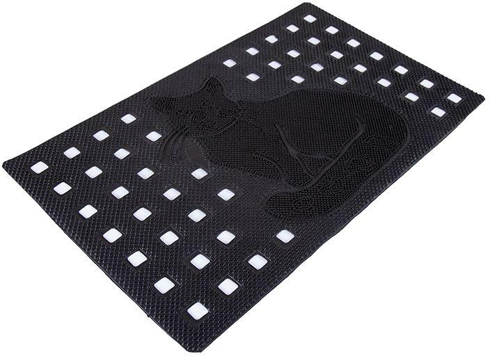 Коврик Sindbad, напольный, цвет: черный, 45 х 75 см. 21402140Коврик Sindbad изготовлен из прочной резины высокого качества. Коврик легко моется водой. Изделие не меняет цвет со временем, не гниет, что гарантирует долгий срок службы. Коврик имеет сквозные отверстия - ячейки особой формы, что позволяет надежно собирать снег и грязь с обуви и защищать от скольжения. Изделие прекрасно защищает от песка, грязи и пыли.