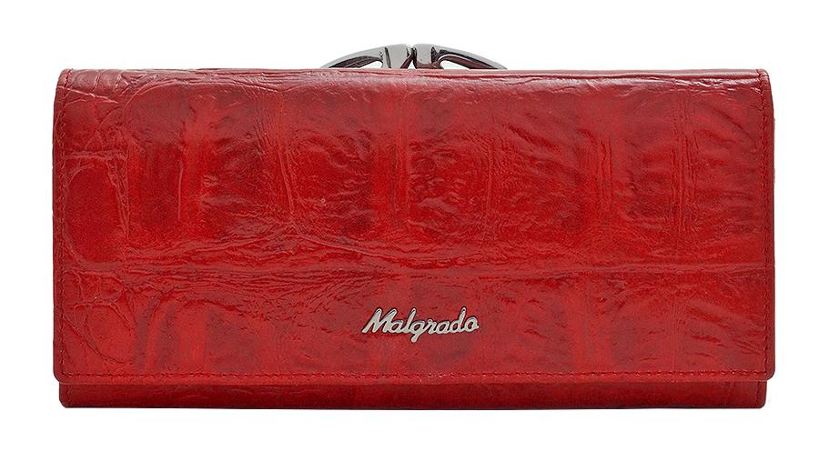 Кошелек женский Malgrado, цвет: красный. 72031-3-29102#72031-3-29102#Стильный кошелек Malgrado выполнен из натуральной кожи красного цвета с декоративным тиснением под рептилию, застегивается клапаном на кнопку. Внутри содержит девять кармашков для кредитных карт, три отделения для купюр, один кармашек на застежке-молнии. На задней стороне кошелек имеет 2 отделения для мелочи, закрывающиеся металлическим рамочным замком типа ридикюль. Кошелек упакован в подарочную металлическую коробку с логотипом фирмы. Такой кошелек станет замечательным подарком человеку, ценящему качественные и практичные вещи. Характеристики: Материал: натуральная кожа, текстиль, металл. Размер кошелька: 18,5 см х 9 см х 3 см. Цвет: красный. Размер упаковки: 23 см х 13 см х 5 см. Артикул: 72031-3-29102#.