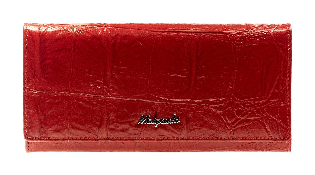 Кошелек Malgrado, цвет: красный. 72076-29102#72076-29102#Стильный кошелек Malgrado выполнен из лаковой натуральной кожи красного цвета с декоративным тиснением, застегивается клапаном на кнопку. Внутри содержит один горизонтальный карман для бумаг, девять кармашков для кредитных карт, отделение на замке-защелке для мелочи и четыре отделения для купюр, одно из них на молнии. Кошелек упакован в подарочную металлическую коробку с логотипом фирмы. Такой кошелек станет замечательным подарком человеку, ценящему качественные и практичные вещи.