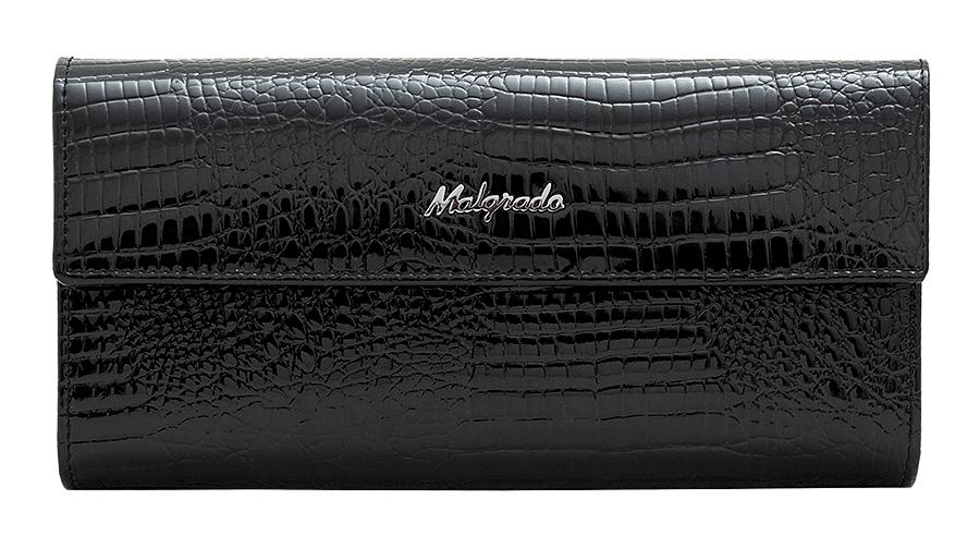 Кошелек женский Malgrado, цвет: черный. 72044-1-4672044-1-46# BlackСтильный кошелек Malgrado изготовлен из натуральной лакированной кожи с тиснением под рептилию. Лицевая сторона изделия оформлена гравировкой в виде названия бренда. Кошелек закрывается широким клапаном на застежку-кнопку. Внутри расположены три отделения для купюр и отделение для мелочи на защелке. Изюминкой модели является отделение на застежке-кнопке, внутри которого имеются десять прорезных кармашков для пластиковых карт и визиток, кармашек с прозрачным окошком из мягкого пластика и один потайной карман для различных документов и мелких бумаг. Тыльная сторона изделия оформлена прорезным карманом на застежке-молнии. Кошелек упакован в подарочную металлическую коробку с логотипом фирмы. Такой кошелек станет замечательным подарком человеку, ценящему качественные и практичные вещи.
