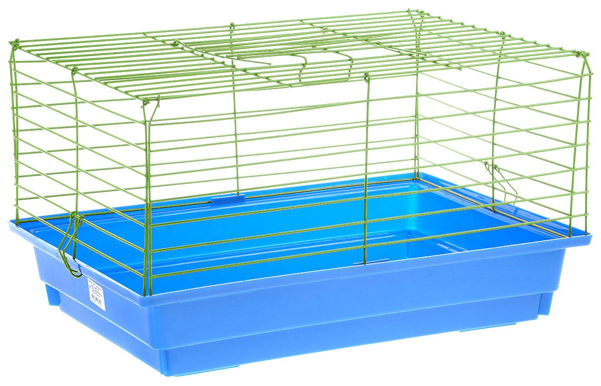 Клетка для кролика ЗооМарк, цвет: синий поддон, зеленая решетка, 50 х 35 х 30 см610СЗКлассическая клетка ЗооМарк со сплошным дном станет уединенным личным пространством и уютным домиком для кролика. Изделие выполнено из металла и пластика. Клетка надежно закрывается на защелки. Легко чистится. Для более удобной транспортировки клетку можно сложить.