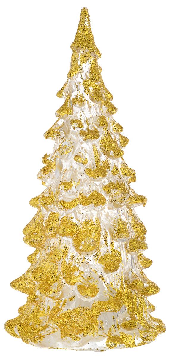 Фигурка декоративная B&H Елочка, светящаяся, цвет: золотистый, прозрачный, высота 12 смBH1081_золотойФигурка декоративная B&H изготовлена из акрила в виде нарядной новогодней елочки и декорирована цветными сверкающими блестками. Изделие снабжено светодиодом, который меняет цвет и горит в разных режимах. Тумблер включения расположен на дне фигурки. Создайте в своем доме атмосферу веселья и радости, украшая его к Новому году. Откройте для себя удивительный мир сказок и грез. Почувствуйте волшебные минуты ожидания праздника, создайте новогоднее настроение вашим родным и близким. Изделие работает от 3 батареек типа AG10 (входят в комплект).