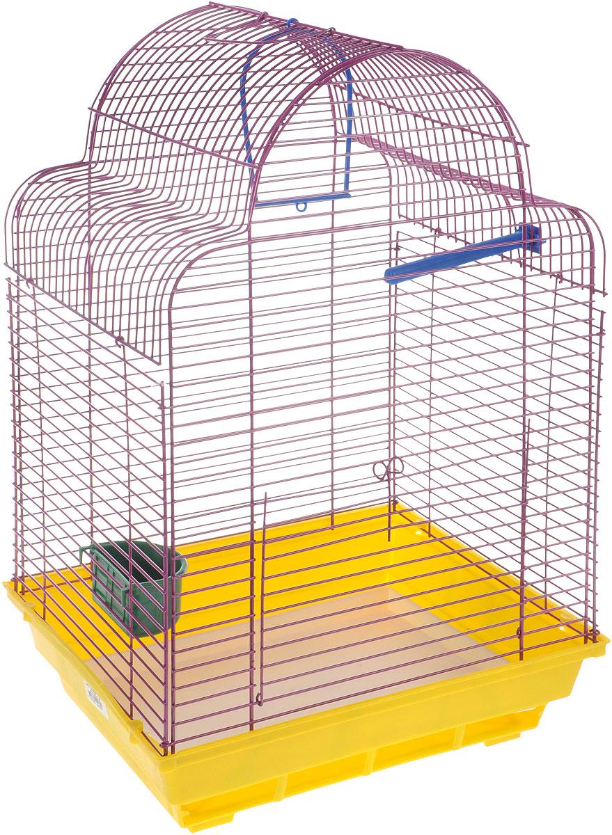 Клетка для птиц ЗооМарк Купола, цвет: желтый поддон, фиолетовая решетка, 35 х 29 х 51 см460ЖФКлетка ЗооМарк Купола, выполненная из полипропилена и металла, предназначена для мелких птиц. Изделие состоит из большого поддона и решетки. Клетка снабжена металлической дверцей. В основании клетки находится малый поддон. Клетка удобна в использовании и легко чистится. Она оснащена жердочкой, кольцом для птицы, кормушкой и подвижной ручкой для удобной переноски.