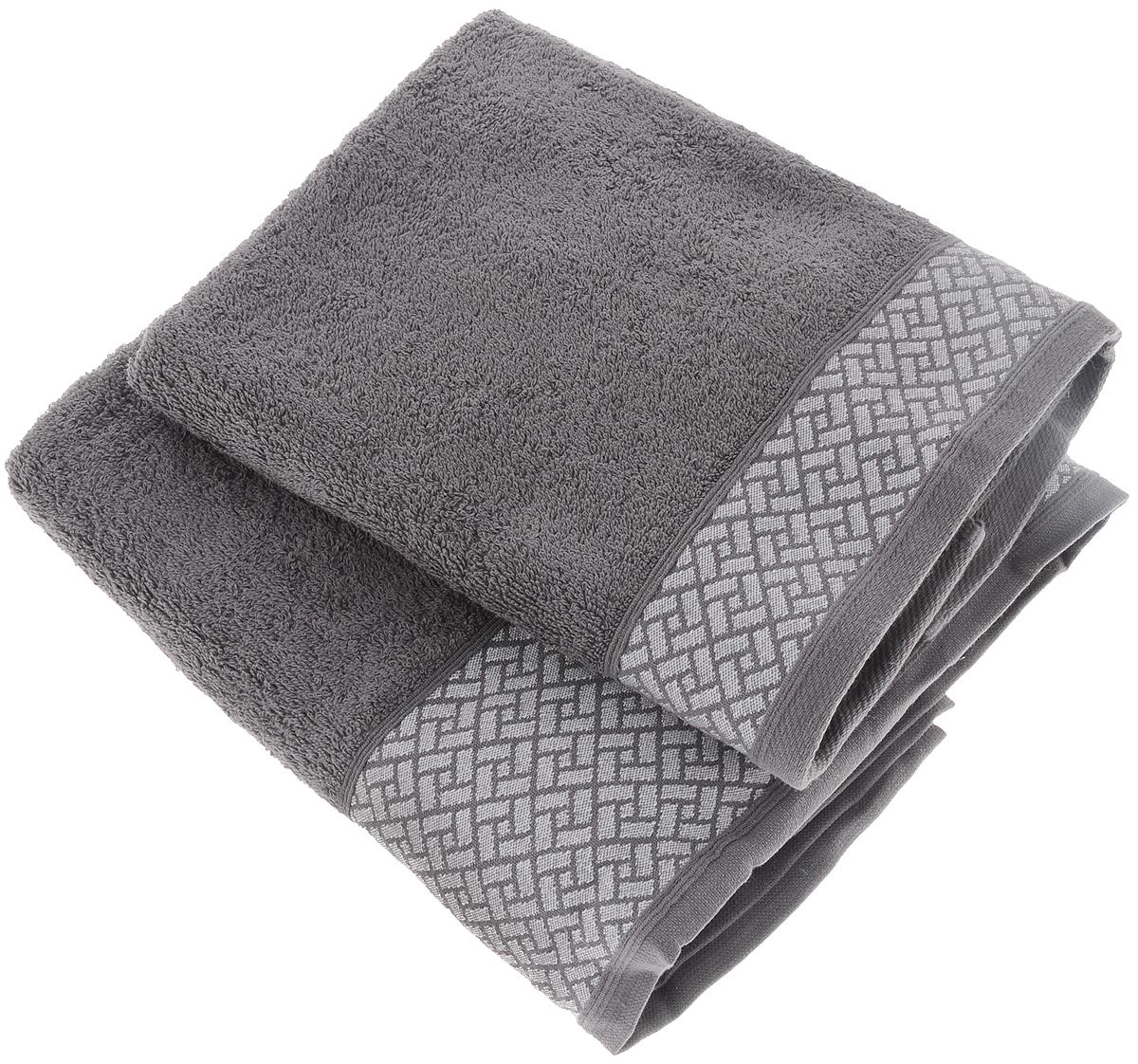 Набор полотенец Tete-a-Tete Лабиринт, цвет: серый, 50 х 90 см, 2 штУП-009-03-2кНабор Tete-a-Tete Лабиринт состоит из двух махровых полотенец, выполненных из натурального 100% хлопка. Бордюр полотенец декорирован геометрическим узором. Изделия мягкие, отлично впитывают влагу, быстро сохнут, сохраняют яркость цвета и не теряют форму даже после многократных стирок. Полотенца Tete-a-Tete Лабиринт очень практичны и неприхотливы в уходе. Они легко впишутся в любой интерьер благодаря своей нежной цветовой гамме. Набор упакован в красивую коробку и может послужить отличной идеей для подарка. Размер полотенец: 50 х 90 см.