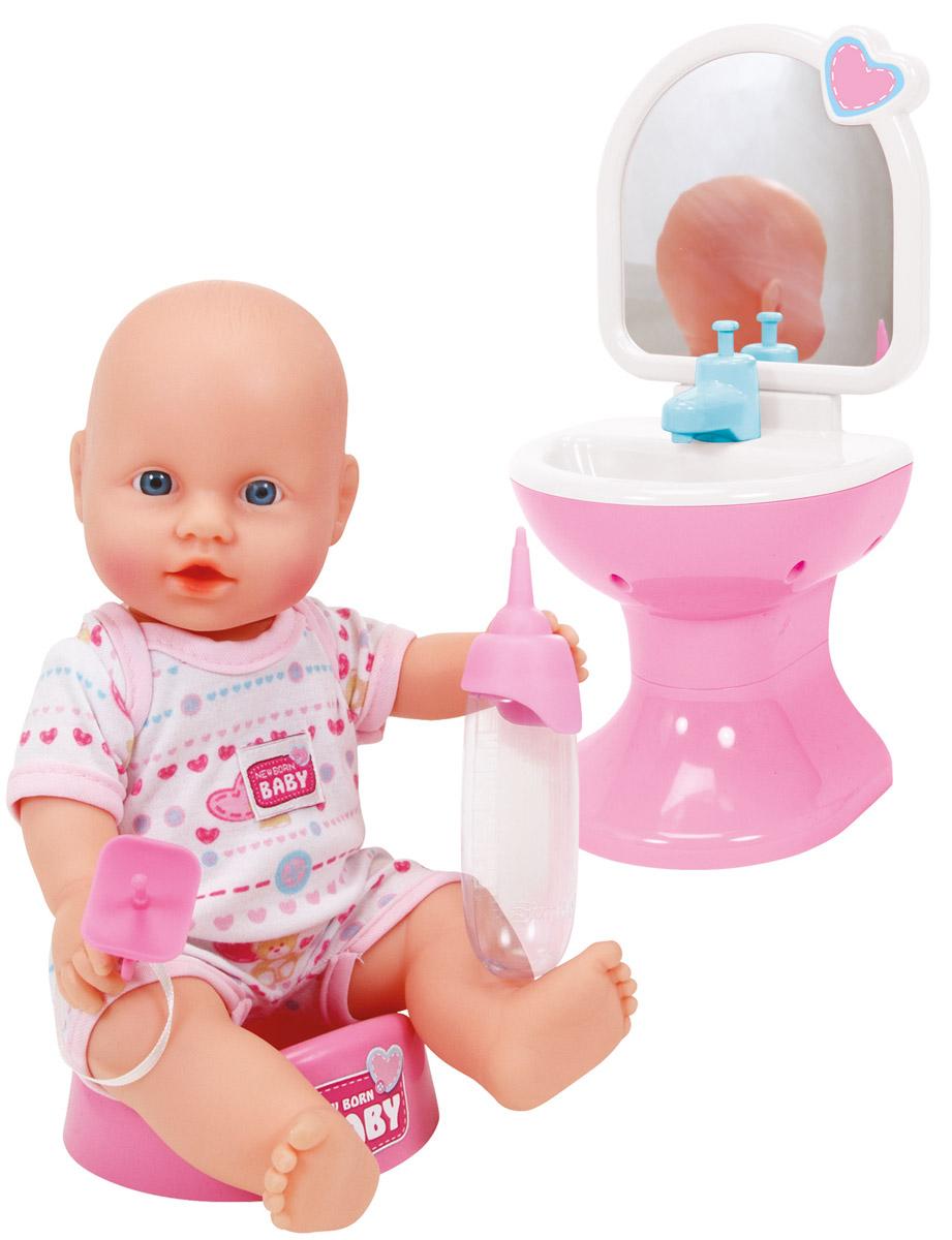 Simba Пупс Новорожденный цвет одежды розовый белый5036467Милый пупс Simba Новорожденный обязательно станет любимцем вашего ребенка. Черты лица малыша настолько реалистичны, что на мгновение можно забыть, что перед вами кукла. Пупс пьет и писает, у него двигаются руки и ноги, поворачивается голова. Также его можно купать. В комплект входят аксессуары: соска, детская бутылочка, горшочек и умывальник с настоящим зеркалом. Выполнена игрушка из качественных и безопасных материалов. Ваша малышка почувствует себя настоящей мамой, сможет его кормить и бережно пеленать.