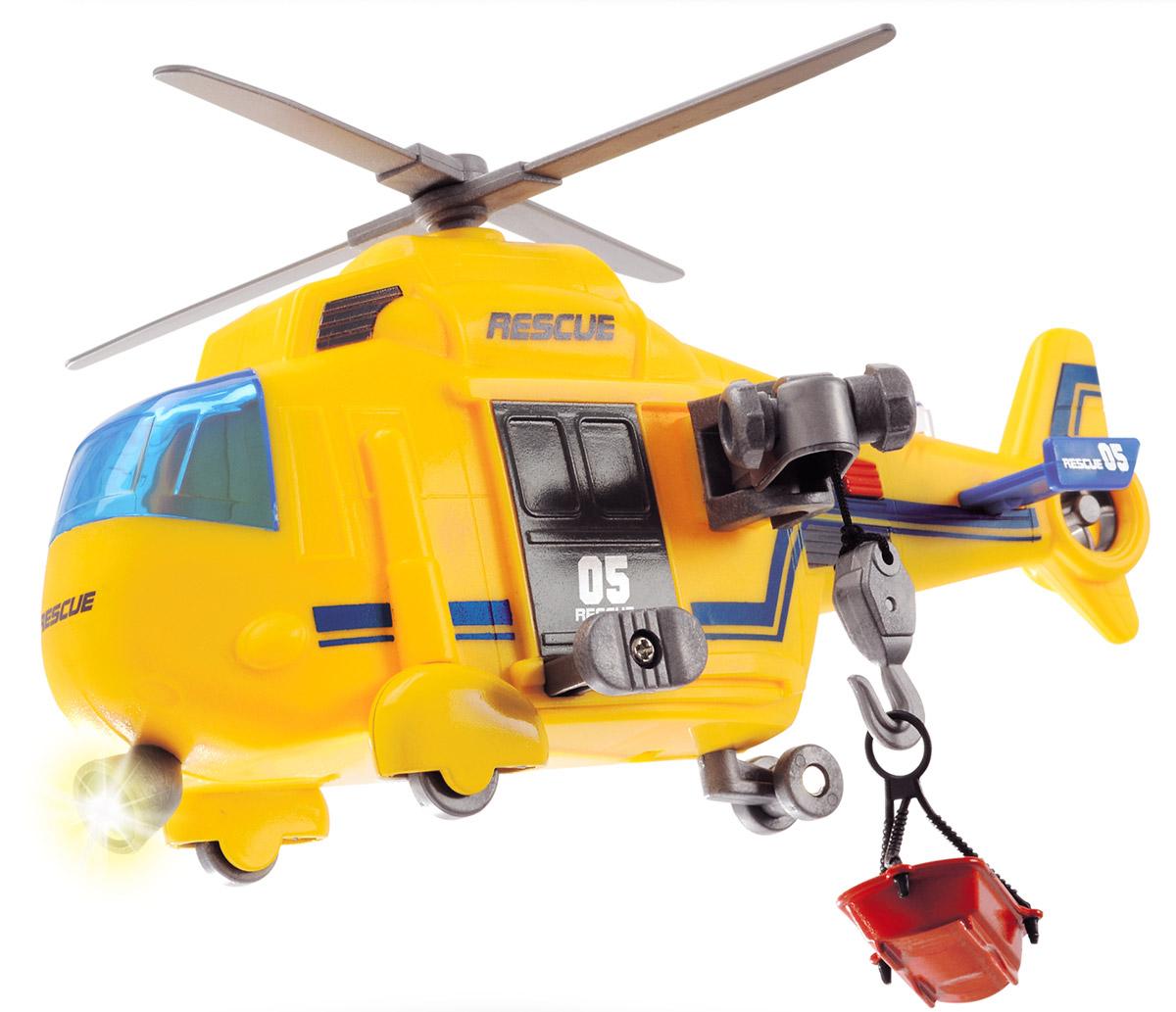 Dickie Toys Спасательный вертолет3302003Спасательный вертолет Dickie Toys даст возможность ребенку почувствовать себя маленьким спасателем, спешащим на помощь людям, попавшим в беду. Вертолет окрашен в яркие цвета. Подвесная люлька отделяется от специального крючка, в нее можно положить небольшую игрушку в виде человечка, животного или необходимого груза. При нажатии на красную кнопку у игрушки начинают крутиться винты, гудит сирена, зажигаются сигнальные огни и фары. Спасательный вертолет отлично развивает фантазию и мышление, расширяет кругозор. Рекомендуется докупить 3 батарейки напряжением 1,5V типа LR41 (товар комплектуется демонстрационными).