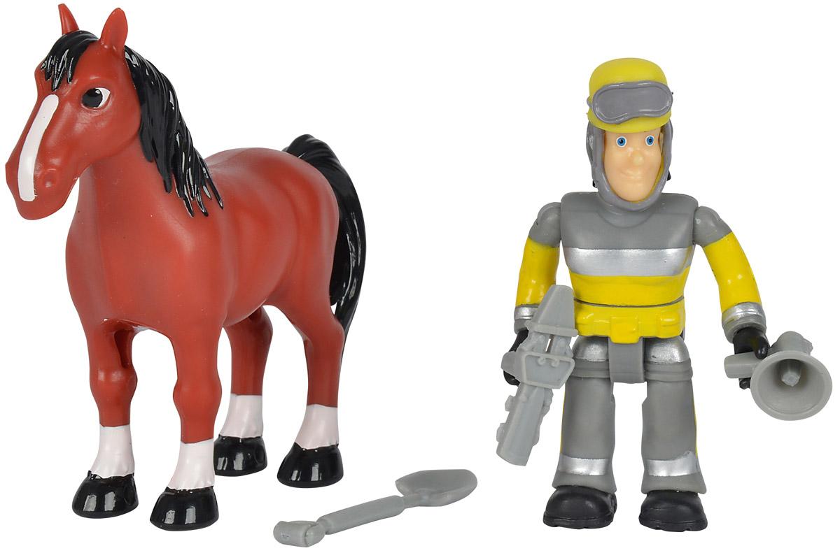 Simba Набор фигурок Sam & Horse9259746Набор фигурок Simba Sam & Horse состоит из фигурки Сэма, его питомца и необходимого на пожаре снаряжения. Конечности фигурки пожарного подвижны и позволяют придавать игрушке различные позы, голова и торс могут поворачиваться, шлем можно снять с головы фигурки, а в руки пожарного можно вложить его инструменты. Набор выполнен из качественного и безопасного пластика.