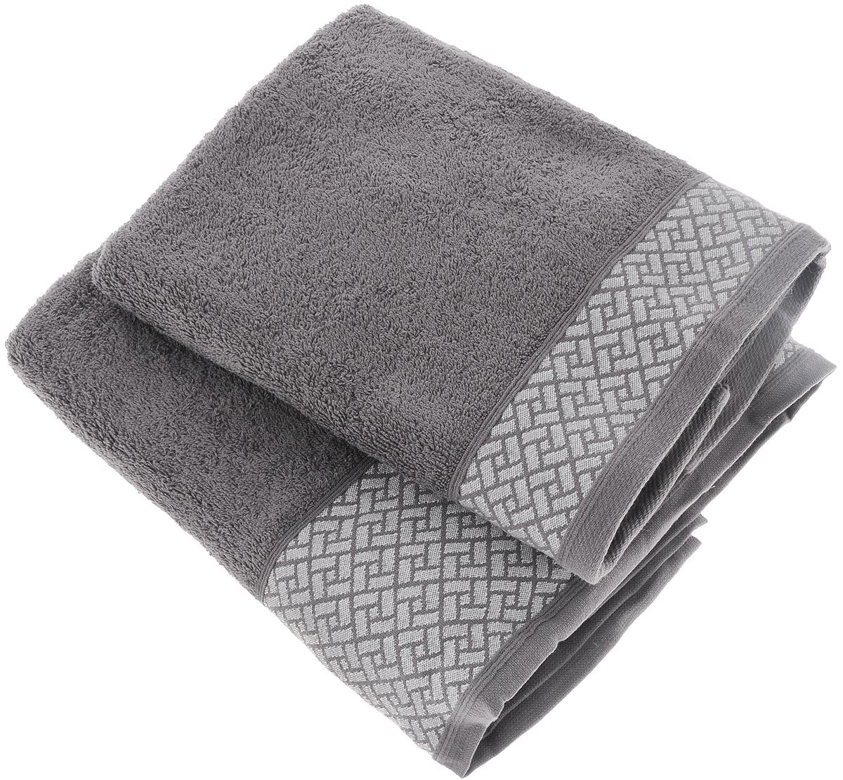 Набор полотенец Tete-a-Tete Лабиринт, цвет: серый, 2 шт. УНП-109-03кУНП-109-03кНабор Tete-a-Tete Лабиринт состоит из двух махровых полотенец, выполненных из натурального 100% хлопка. Бордюр полотенец декорирован геометрическим узором. Изделия мягкие, отлично впитывают влагу, быстро сохнут, сохраняют яркость цвета и не теряют форму даже после многократных стирок. Полотенца Tete-a-Tete Лабиринт очень практичны и неприхотливы в уходе. Они легко впишутся в любой интерьер благодаря своей нежной цветовой гамме. Размеры полотенец: 50 х 90 см, 70 х 140 см.