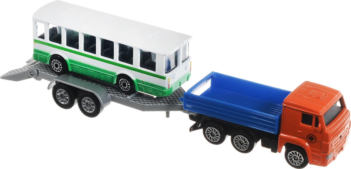 ТехноПарк Машинка КамАЗ с автобусом на прицепеSB-16-09WB_автобусНабор машинок ТехноПарк Техника - отличный способ почувствовать себя настоящим водителем. Каждый мальчик, который любит играть с машинками, быстро придумает различные сюжеты игры и будет безумно рад таким игрушкам. Набор состоит из двух машинок - это грузовик-тягач с прицепом и пассажирский автобус. Играть можно как с двумя игрушками сразу, именно используя тягач в качестве буксира, или же по отдельности. Игрушки выполнены из качественных и безопасных материалов.