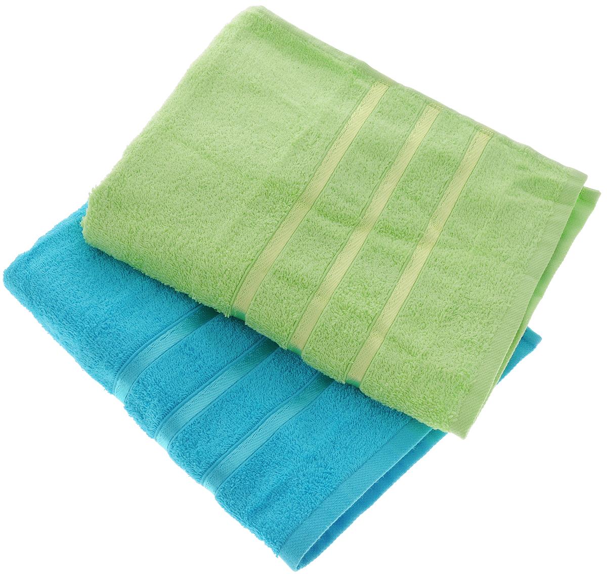 Набор полотенец Tete-a-Tete Ленты, цвет: зеленый, бирюзовый, 50 х 85 см, 2 штУНП-101-10-2кНабор Tete-a-tete Ленты состоит из двух махровых полотенец, выполненных из натурального 100% хлопка. Бордюр полотенец декорирован лентами. Изделия мягкие, отлично впитывают влагу, быстро сохнут, сохраняют яркость цвета и не теряют форму даже после многократных стирок. Полотенца Tete-a-tete Ленты очень практичны и неприхотливы в уходе. Они легко впишутся в любой интерьер благодаря своей нежной цветовой гамме. Набор упакован в красивую коробку и может послужить отличной идеей для подарка. Размер полотенец: 50 х 85 см.