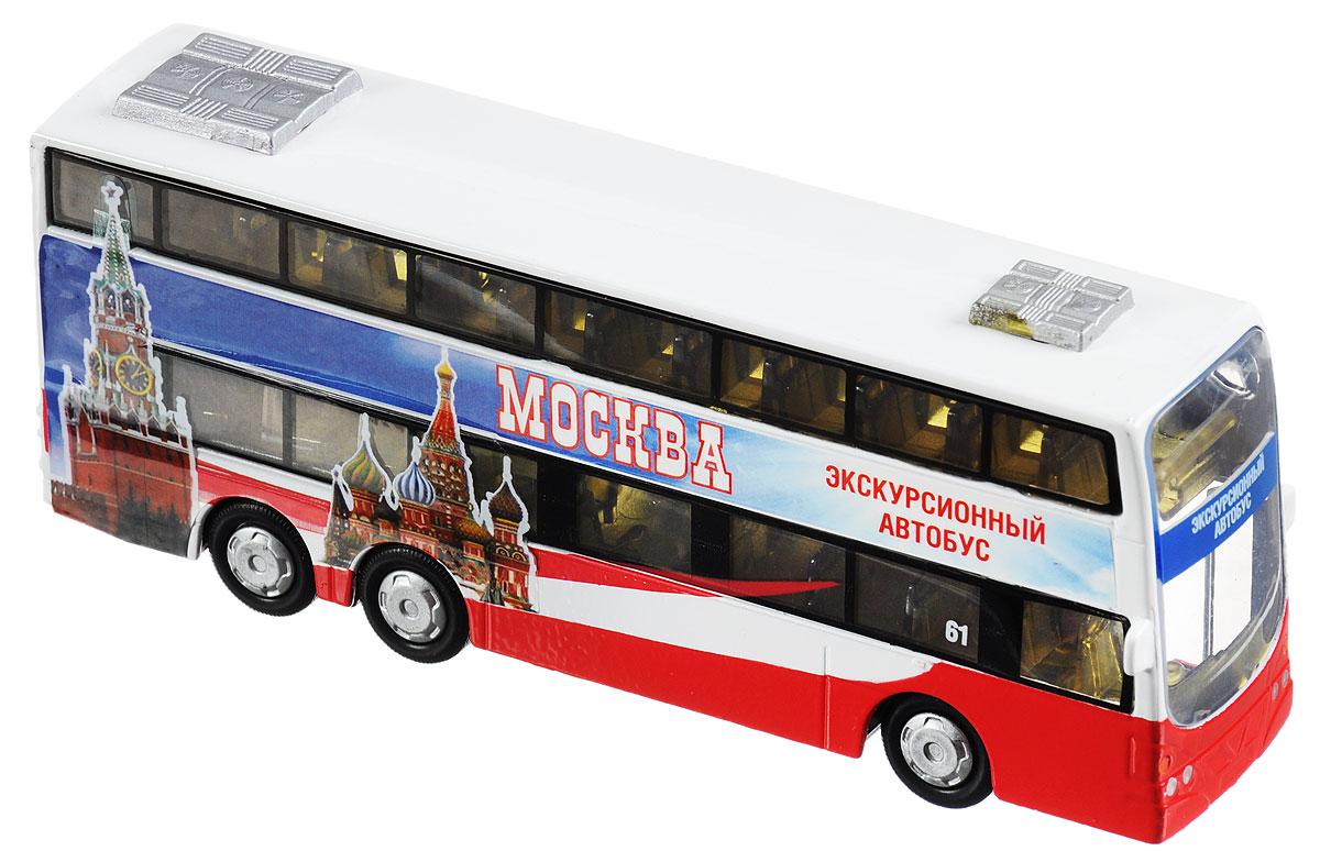 ТехноПарк Двухэтажный автобус инерционныйCT10-054-2С таким двухэтажным экскурсионным автобусом от ТехноПарк ваш ребенок сможет стать настоящим экскурсоводом и возить пассажиров по воображаемым улицам своего города. У автобуса открываются боковые двери, также он оснащён звуковыми эффектами. При нажатии на крышу автобуса загораются фары и издаются реалистичные звуки скорости, как у настоящего автомобиля. Игрушка оснащена инерционным ходом. Машинку необходимо немного подтолкнуть вперед или назад, а затем отпустить - и она быстро поедет в том же направлении. Прорезиненные колеса обеспечивают надежное сцепление с любой поверхностью пола. Ваш ребенок будет часами играть с этой машинкой, придумывая различные истории. Порадуйте его таким замечательным подарком! Для работы игрушки необходимо докупить 3 батарейки напряжением 1,5 V типа LR41 (товар комплектуется демонстрационными).