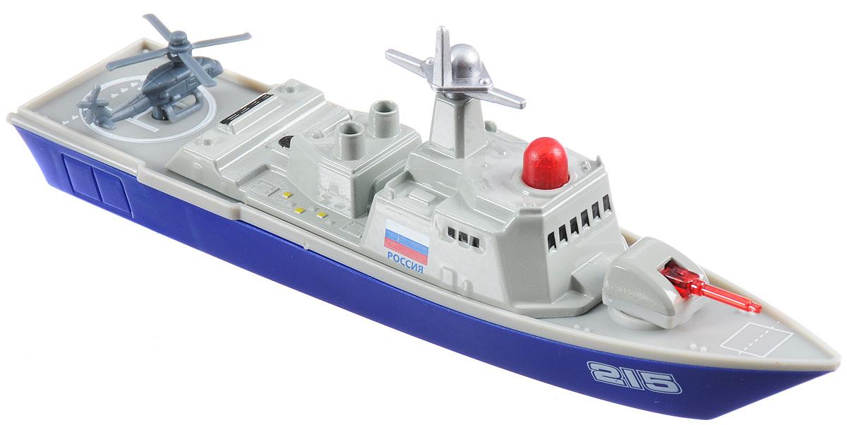 ТехноПарк Военный корабль инерционныйSB-16-11-AВоенный корабль ТехноПарк представляет собой компактную реалистичную модель, достигающую в длину 18 сантиметров. Игрушка выполнена из металла и пластика в серо-синих тонах и оснащена инерционным механизмом. На борту имеется красная кнопка, нажатием которой запускаются световые и звуковые эффекты. В задней части игрушечного корабля имеется посадочная площадка для военного вертолета. Этот корабль придется по вкусу маленьким любителям военно-морского флота, ведь он так похож на настоящие военные корабли! Рекомендуется докупить 3 батарейки напряжением 1,5V типа LR41 (товар комплектуется демонстрационными).