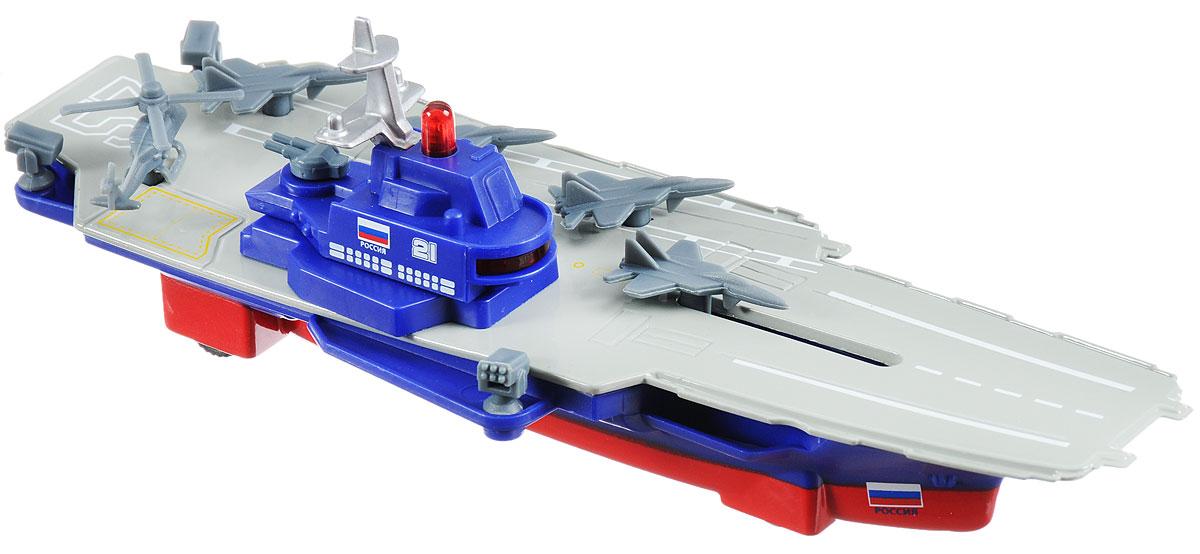 ТехноПарк Авианосец инерционныйSB-16-11-BАвианосец ТехноПарк представляет собой компактную реалистичную модель детализированную модель военного корабля. Игрушка выполнена из металла и пластика в серо-синих тонах и оснащена инерционным механизмом. На борту имеется красная кнопка, нажатием которой запускаются световые и звуковые эффекты. В задней части игрушечного корабля имеется посадочная площадка для военного вертолета. Этот корабль придется по вкусу маленьким любителям военно-морского флота, ведь он так похож на настоящие военные корабли! Рекомендуется докупить 3 батарейки напряжением 1,5V типа LR41 (товар комплектуется демонстрационными).