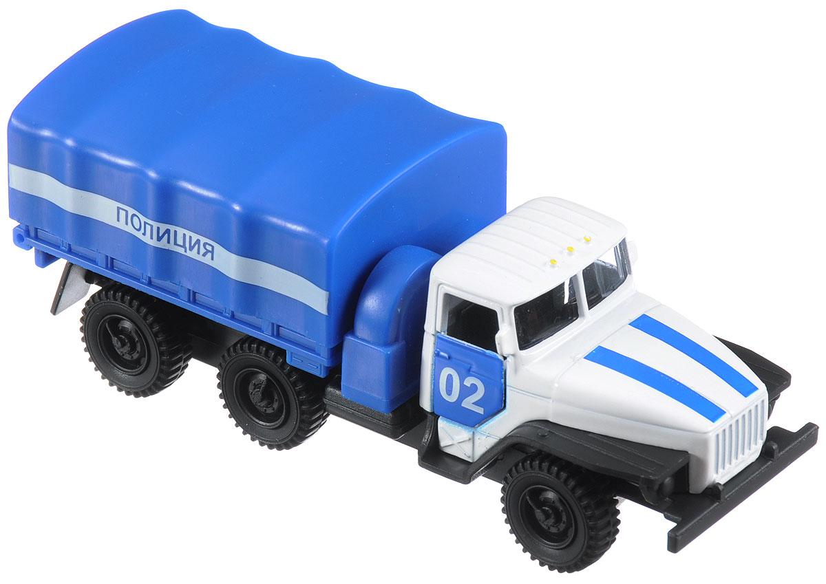 ТехноПарк Машина инерционная Урал ПолицияSB-15-35-T8-WBМашина ТехноПарк Урал. Полиция, выполненная из пластика и металла, станет любимой игрушкой вашего малыша. Изделие представлено в виде полицейского грузовика. Дверцы кабины открываются. Модель оснащена инерционным механизмом. Прорезиненные колеса обеспечивают надежное сцепление с любой поверхностью пола. Ваш ребенок будет увлеченно играть с этой машинкой, придумывая различные истории. Подарите вашему малышу возможность почувствовать себя настоящим водителем.