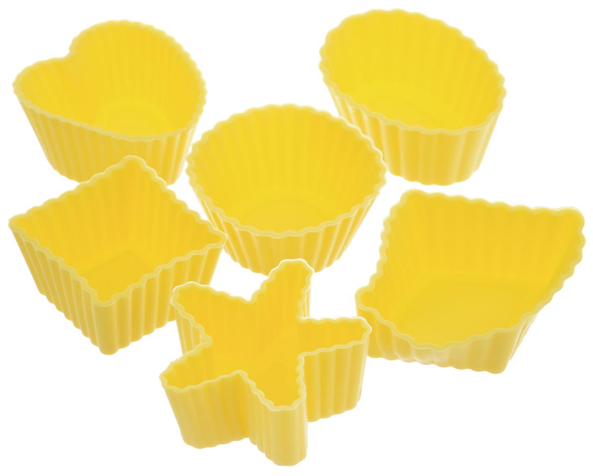 Набор форм для выпечки LaSella, цвет: желтый, 6 штKL40B035_желтыйНабор LaSella состоит из шести форм, выполненных из силикона с рельефными стенками. Изделия предназначены для выпечки и заморозки. Формочки выполнены в виде круга, овала, звезды, квадрата и сердца. Силиконовые формы для выпечки имеют много преимуществ по сравнению с традиционными металлическими формами и противнями. Они идеально подходят для использования в микроволновых, газовых и электрических печах при температурах до +210°С. В случае заморозки до -40°С. Благодаря гибкости и антипригарным свойствам силикона, готовое изделие легко извлекается из формы. Силикон абсолютно безвреден для здоровья, не впитывает запахи, не оставляет пятен, легко моется. С таким набором LaSella вы всегда сможете порадовать своих близких оригинальной выпечкой.