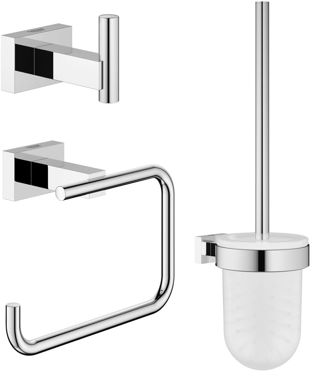 Набор аксессуаров для ванной комнаты Grohe Essentials Cube, 3 предмета40757001Набор аксессуаров для ванной комнаты Grohe Essentials Cube включает ершик с подставкой и держателем, крючок для банного халата и держатель для туалетной бумаги. Изделия выполнены из латуни с хромированным покрытием. Благодаря специальной технологии Grohe StarLight покрытие обеспечивает сияющий блеск на протяжении всего срока службы. Кроме того, оно отталкивает грязь, не тускнеет и обладает высокой степенью износостойкости. Все предметы крепятся к стене (крепежные элементы поставляются в комплекте). Благодаря неизменно актуальному дизайну и долговечному хромированному покрытию, такой набор отлично дополнит интерьер ванной комнаты, воплощая собой изысканный стиль и превосходное качество. Длина ершика (с ручкой): 37 см. Длина щетины: 2 см. Размер подставки для ершика: 9,5 х 9,5 х 13,5 см. Размер держателя для туалетной бумаги: 13,5 х 10 х 6 см. Размер крючка для банного халата: 4 х 6 х 4 см.