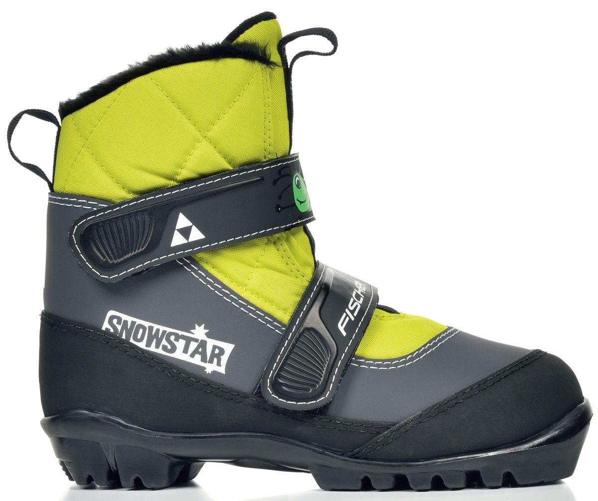 Ботинки лыжные беговые Fischer Snowstar Yellow, цвет: черный, белый, салатовый. S41016. Размер 32S41016Дизайн, который идеально соответствует модели лыж SNOWSTAR, этот ботинок является убедительным не только с точки зрения внешнего вида. Липучки позволяют легко надеть без помощи родителей! Благодаря хорошей защите от промокания этот ботинок также идеально подходит для игры на снегу без лыж.