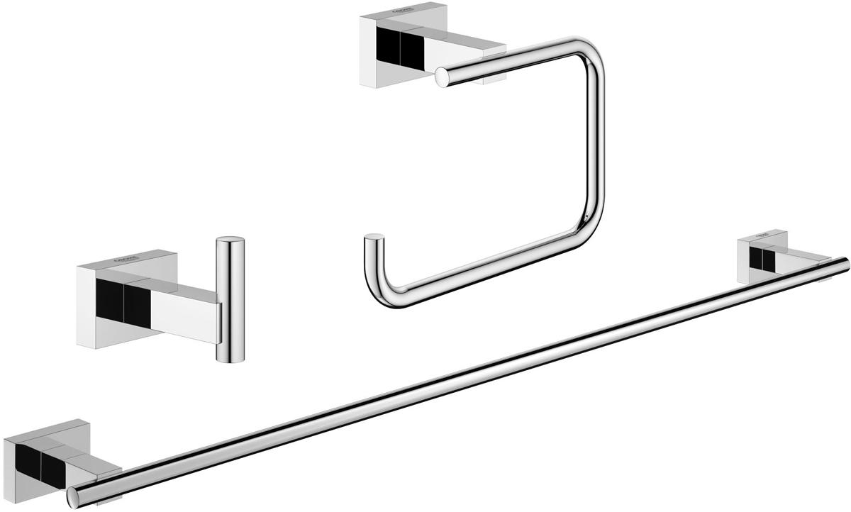 Набор аксессуаров для ванной Grohe Essentials Cube, 3 предмета40777001Набор аксессуаров для ванной Grohe Essentials Cube, изготовленный из латуни, состоит из крючка для халата, держателя для туалетной бумаги (с крышкой) и держателя для полотенца. Этот комплект аксессуаров станет идеальным выбором для вашей ванной комнаты. Все детали комплекта выполнены в дизайне, который не устареет со временем, а также покорит вас качеством исполнения. Изделия изготовлены с нанесением износостойкого покрытия Grohe StarLight®, устойчивого к царапинам и загрязнению. Покрытие, выполненное по специальным технологиям, придает изделию сияющий вид. Аксессуары крепятся к стене при помощи шурупов, входящих в комплект.