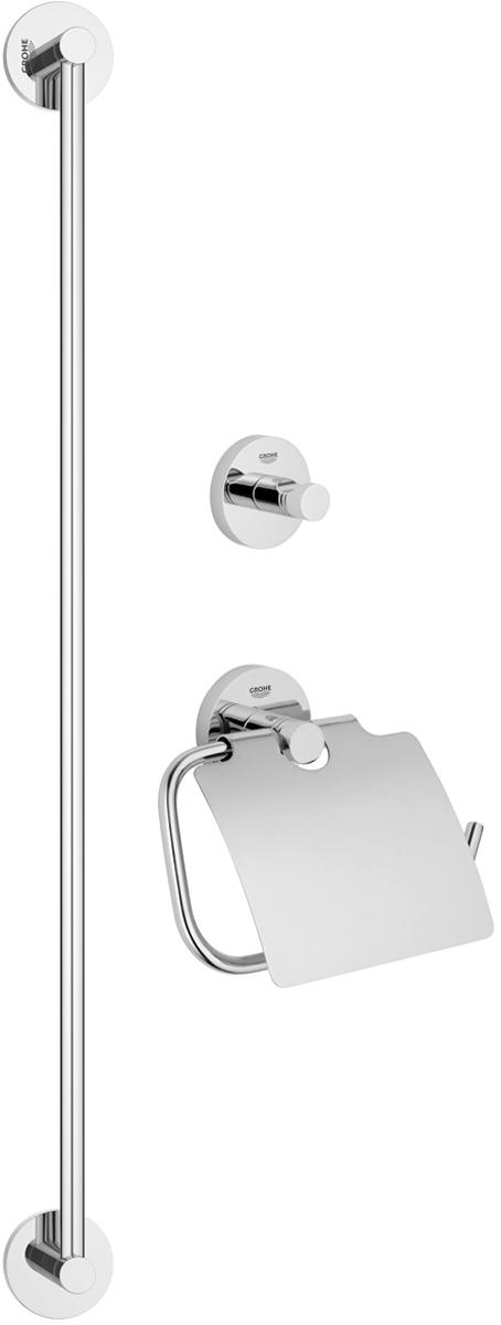 Набор аксессуаров для ванной комнаты Grohe Essentials, 3 предмета. 4077500140775001Набор аксессуаров для ванной комнаты Grohe Essentials включает держатель для банного полотенца, крючок для банного халата и держатель для туалетной бумаги с козырьком. Изделия выполнены из латуни с хромированным покрытием. Благодаря специальной технологии Grohe StarLight покрытие обеспечивает сияющий блеск на протяжении всего срока службы. Кроме того, оно отталкивает грязь, не тускнеет и обладает высокой степенью износостойкости. Все предметы крепятся к стене (крепежные элементы поставляются в комплекте). Благодаря неизменно актуальному дизайну и долговечному хромированному покрытию, такой набор отлично дополнит интерьер ванной комнаты, воплощая собой изысканный стиль и превосходное качество. Размер держателя для туалетной бумаги: 17 х 4,5 х 14 см. Размер крючка для банного халата: 5,5 х 4,5 х 5,5 см. Длина держателя для банного полотенца: 65 см.