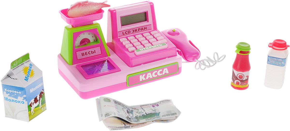 Играем вместе Игрушечный набор Настоящая кассаA539-H05036-RИгрушечный набор Играем вместе Настоящая касса станет отличным подарком ребенку и позволит ему почувствовать себя в роли продавца. Игрушка изготовлена из прочного пластика с металлическими элементами. На корпусе кассы маленький продавец найдет весы, калькулятор и выдвижной ящик для денег. Набор продуктов и игрушечные деньги, входящие в комплект, позволят ребенку еще глубже погрузиться в игровой процесс, как и встроенные звуковой и световой модули, срабатывающие при нажатии на клавиши. Порадуйте своего ребенка таким замечательным набором! Необходимо купить 3 батарейки напряжением 1,5V типа АА (не входят в комплект).