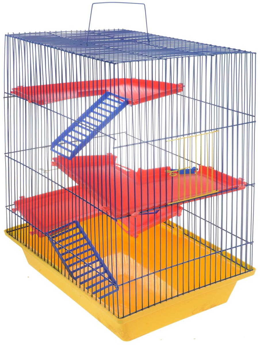 Клетка для грызунов ЗооМарк Гризли, 4-этажная, цвет: желтый поддон, синяя решетка, красные этажи. 240240ЖСККлетка ЗооМарк Гризли, выполненная из полипропилена и металла, подходит для мелких грызунов. Изделие четырехэтажное. Клетка имеет яркий поддон, удобна в использовании и легко чистится. Сверху имеется ручка для переноски. Такая клетка станет уединенным личным пространством и уютным домиком для маленького грызуна.
