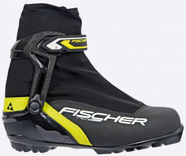 Ботинки лыжные беговые Fischer RC1 Combi, цвет: черный, желтый, белый. S46315. Размер 42S46315Универсальная модель лыжных ботинок для любителей обеспечивает оптимальную поддержку голеностопного сустава. Подошва средней жесткости позволяет использовать их как для конька, так и для классики. ТЕХНОЛОГИИ: HINGED POLYMER CUFF Эргономичная манжета обеспечивает боковую поддержку и дает свободу движений вперед и назад. Равномерное распределение давления благодаря манжете из материала EVA. INJECTED EXTERIOR HEEL CAP Наружная пластиковая вставка анатомической формы в пяточной части обеспечивает комфортное облегание ботинок и отличную передачу энергии. THERMO FIT Термоформируемый материал внутреннего ботинка обладает прекрасными изоляционными свойствами и легко адаптируется по ноге. EASY ENTRY LOOPS Широкое раскрытие ботинка и практичная петля на пятке облегчают надевание/ снимание ботинок. LACE COVER Дополнительная защита шнуровки, предотвращает проникновение влаги и холода. TRIPLE F MEMBRANE Влагонепроницаемая мембрана обладающая...