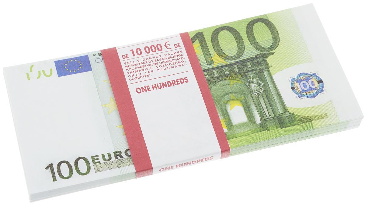 Сувенирные деньги Эврика Забавная пачка 100 евро90108Сувенирные деньги Эврика Забавная пачка 100 евро наверняка удивит, а потом рассмешит каждого человека с хорошим чувством юмора! Сувенирные деньги подходят для выкупа невесты - это то, что нужно, ведь они имеют банковскую ленту и выполнены в отличном качестве печати. Внимательный человек, правда, вас сразу рассекретит, так как на купюрах есть надпись: Не является платежным средством и Сувенирная продукция. Не рекомендуем демонстративно показывать пачку муляжных денег в местах большого скопления людей, чтоб не привлечь к себе внимание людей с сомнительной репутацией. Также не стоит дарить сувенирные деньги сотрудниками ГАИ и налоговой инспекцией, они ведь тоже люди. Размер одной купюры: 6,7 х 15,6 см. Количество листов в пачке не нормировано, в пачке от 80 до 100 купюр.
