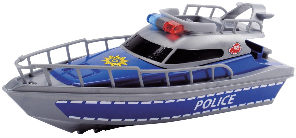 Dickie Toys Полицейская лодка3714004Полицейская лодка Dickie Toys, выполненная из качественных материалов, поможет вашему ребенку почувствовать себя настоящим морским спасателем и полицейским. Колеса у лодки свободно вращаются. Такая игрушка разнообразит игровые ситуации, откроет новые сюжеты для маленького автолюбителя и поможет развить мелкую моторику рук, внимание и координацию движений. Не упустите шанс порадовать своего малыша замечательным подарком! Для работы игрушки необходима 1 батарейка типа AA (товар комплектуется демонстрационными).