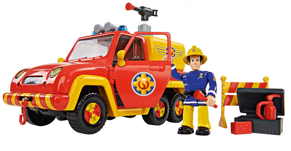 Simba Пожарная машинка Venus9257656Пожарная машинка Simba Venus - это игрушечная модель пожарной машины с фигуркой человечка. Этот человечек работает в службе пожарного спасения. Конечности фигурки подвижны. Двери машины открываются. Поэтому пожарного можно усадить за руль автомобиля, на котором установлено средство тушения пожара, выполненное в виде гидранта. Кроме этого, в машине имеются атрибуты, которые могут понадобиться при тушении пожара. Сюда входят размеченное ограждение, аптечка, ручной огнетушитель и фонарик. С таким набором мальчишки смогут разыграть различные сценки. Рекомендуется докупить 2 батарейки напряжением 1,5V типа ААА (товар комплектуется демонстрационными).