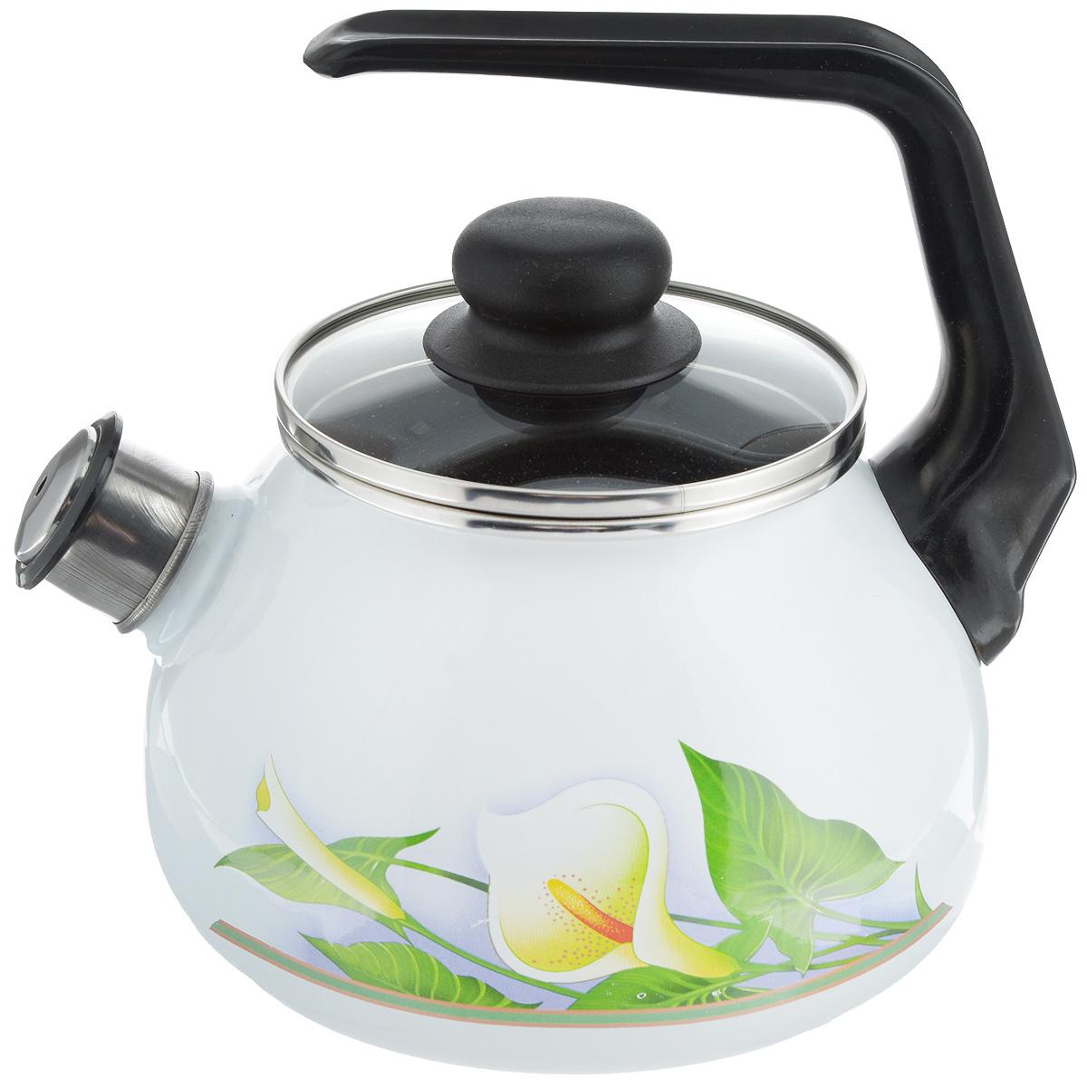Чайник эмалированный СтальЭмаль Каллы, со свистком, 2 л4с210/яЧайник СтальЭмаль Каллы выполнен из высококачественного стального проката, покрытого двумя слоями жаропрочной эмали. Такое покрытие защищает сталь от коррозии, придает посуде гладкую стекловидную поверхность и надежно защищает от кислот и щелочей. Носик чайника оснащен свистком, звуковой сигнал которого подскажет, когда закипит вода. Чайник оснащен фиксированной ручкой из пластика и стеклянной крышкой, которая плотно прилегает к краю благодаря особой конструкции. Внешние стенки декорированы красочным цветочным рисунком. Эстетичный и функциональный чайник будет оригинально смотреться в любом интерьере. Подходит для газовых, электрических, стеклокерамических и индукционных плит. Можно мыть в посудомоечной машине. Диаметр (по верхнему краю): 12,5 см. Высота чайника (с учетом ручки): 21 см. Высота чайника (без учета ручки и крышки): 12,5 см.