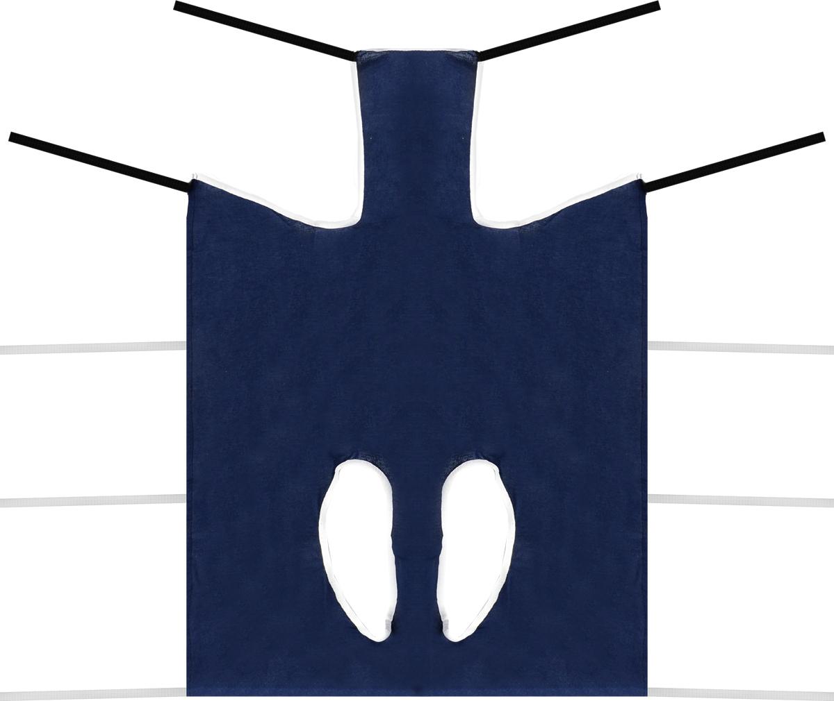 Попона послеоперационная Collar, цвет: темно-синий, белый. Размер 567772Послеоперационная попона для собак Collar выполнена из высококачественного текстиля, благодаря чему хорошо вентилируется. Применяется при перевязке животных. Один слой плотной ткани помогает достичь надежной изоляции раны. Закрепляется при помощи завязок. Обхват груди: 65-95 см. Длина по спинке: 80 см.