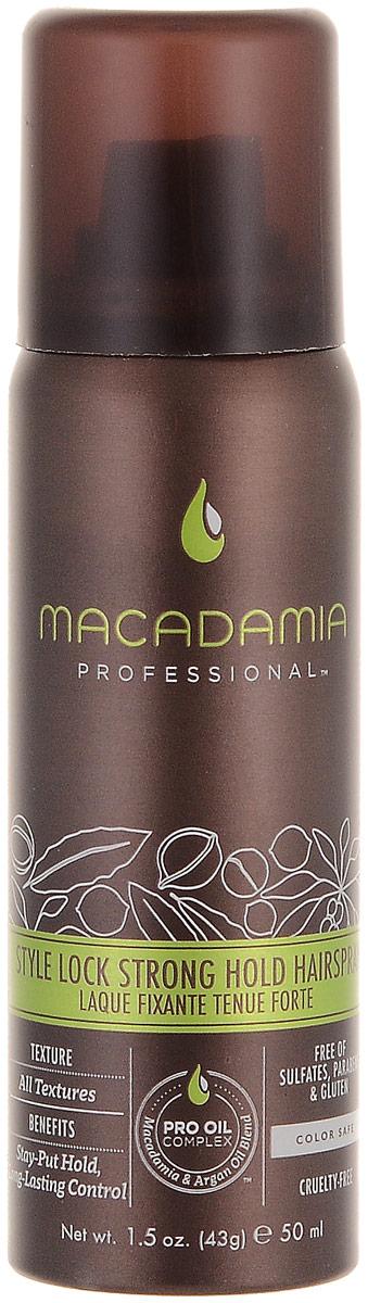 Macadamia Professional Спрей сильной фиксации Стиль на замке, 43 гр500111Невесомый спрей сильной фиксации Macadamia Professional с витамином В5 специально разработан для сохранения укладки на целый день, контролирует пушистость и сохранение формы. Эксклюзивный Pro Oil Complex на основе драгоценных масел макадамии и арганы увлажняет, восстанавливает, добавляет волосам здоровый блеск, упругость и управляемость, сохраняет цвет окрашенных волос.