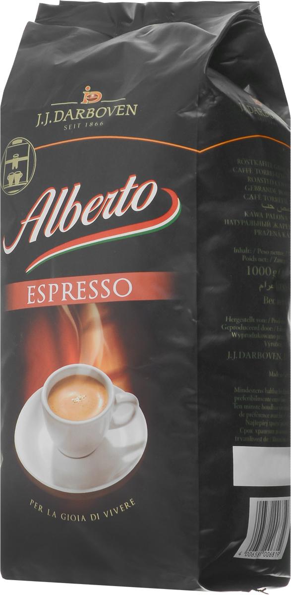 J.J. Darboven Alberto Espresso кофе в зернах, 1 кг4006581006819Кофе в зернах J.J. Darboven Alberto Espresso подходит для приготовления традиционных немецких эспрессо по уникальной рецептуре. О данном сорте положительно отзываются и тысячи любителей кофе, и настоящие гурманы или эксперты. Этот кофе уже долгие годы занимает первые места на немецком рынке, и теперь каждый житель России может побаловать себя эксклюзивным купажом! Средняя обжарка кофейных зерен из лучших плантаций позволяет создавать напитки с изысканным ароматом и бодрящим вкусом без горечи, которым невозможно не насладиться.