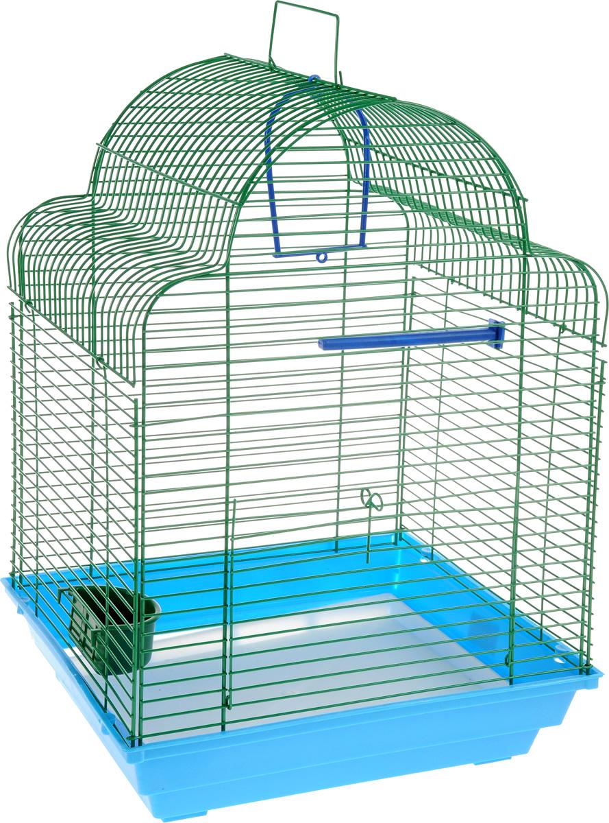 Клетка для птиц ЗооМарк Купола, цвет: синий поддон, зеленая решетка, 35 х 29 х 51 см460СЗКлетка ЗооМарк Купола, выполненная из полипропилена и металла с эмалированным покрытием, предназначена для мелких птиц. Изделие состоит из большого поддона и решетки. Клетка снабжена металлической дверцей. В основании клетки находится малый поддон. Клетка удобна в использовании и легко чистится. Она оснащена жердочкой, кольцом для птицы, поилкой и подвижной ручкой для удобной переноски. Комплектация: - клетка с поддоном, - малый поддон; - поилка; - жердочка; - кольцо.