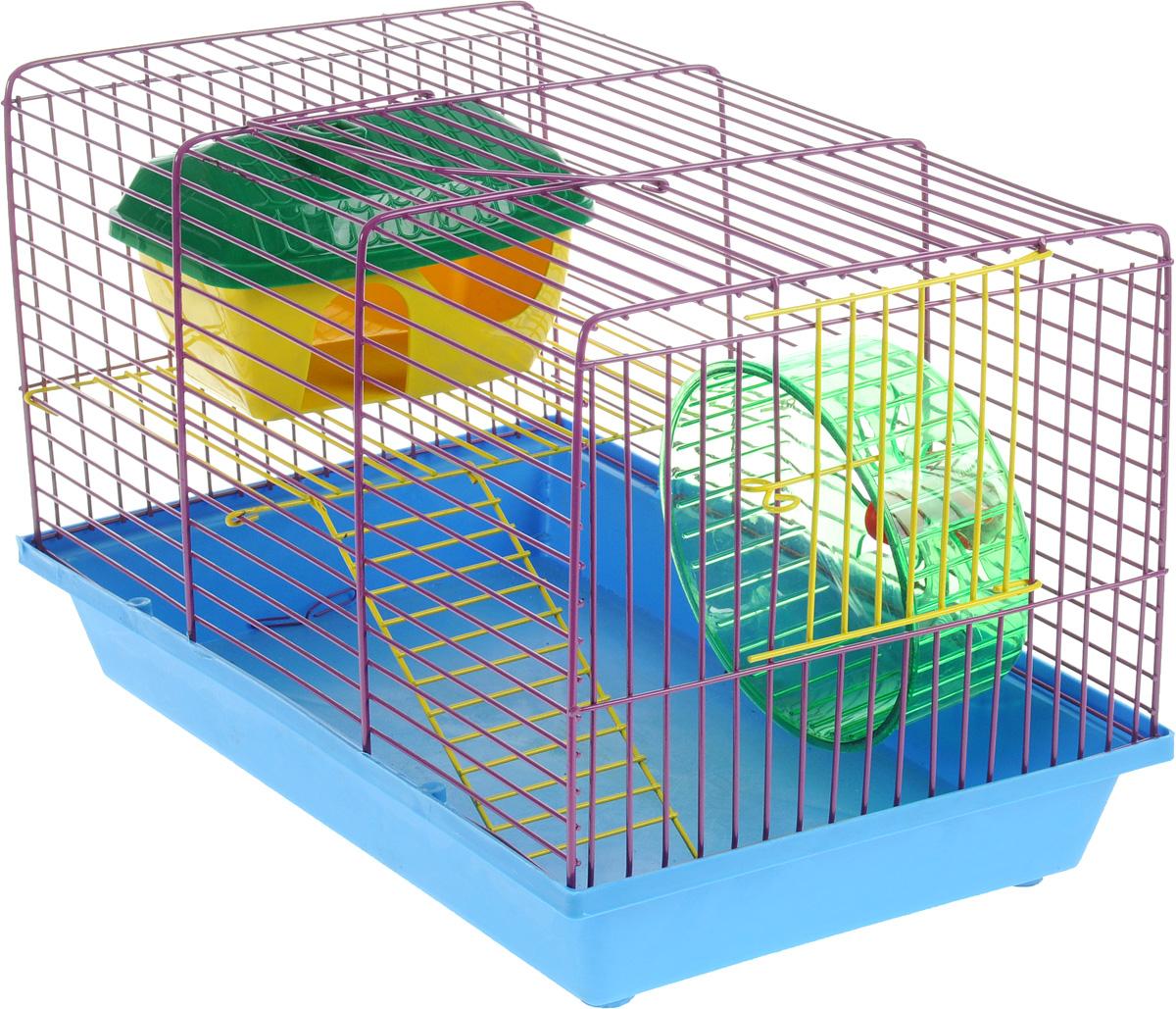 Клетка для грызунов ЗооМарк, 2-этажная, цвет: синий поддон, фиолетовая решетка, 36 х 22 х 24 см125СФКлетка ЗооМарк, выполненная из полипропилена и металла, подходит для мелких грызунов. Изделие двухэтажное, оборудовано колесом для подвижных игр и пластиковым домиком. Клетка имеет яркий поддон, удобна в использовании и легко чистится. Сверху имеется ручка для переноски, а сбоку удобная дверца. Такая клетка станет уединенным личным пространством и уютным домиком для маленького грызуна.