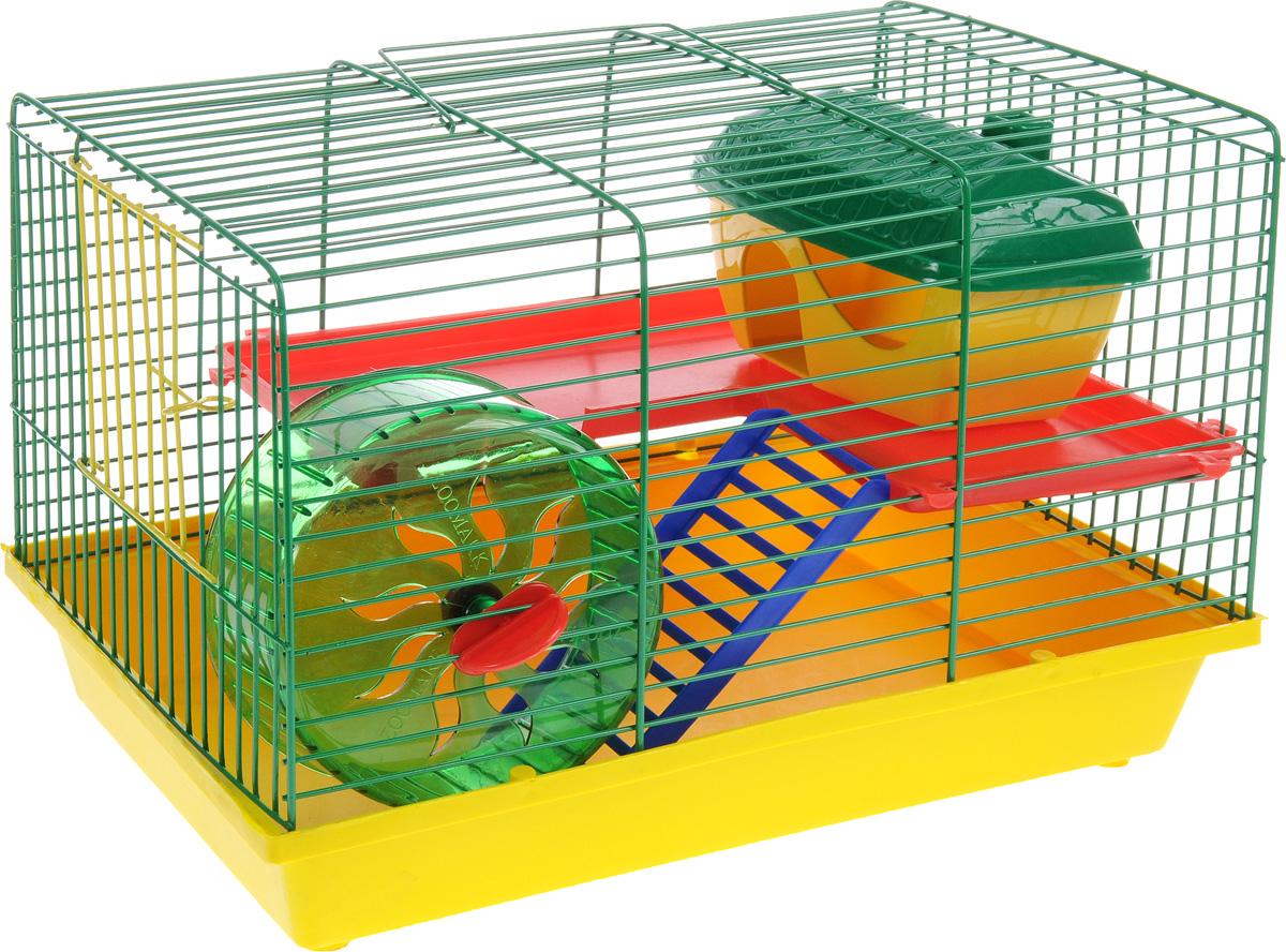 Клетка для грызунов ЗооМарк, 2-этажная, цвет: желтый поддон, зеленая решетка, красный этаж, 36 х 23 х 24 см125ЖЗКлетка ЗооМарк, выполненная из полипропилена и металла, подходит для мелких грызунов. Изделие двухэтажное, оборудовано колесом для подвижных игр и пластиковым домиком. Клетка имеет яркий поддон, удобна в использовании и легко чистится. Сверху имеется ручка для переноски. Такая клетка станет уединенным личным пространством и уютным домиком для маленького грызуна.