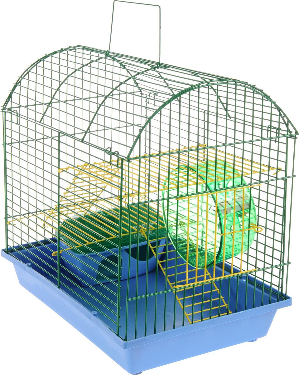 Клетка для грызунов ЗооМарк, 2-этажная, цвет: синий поддон, зеленая решетка, желтые этажи, 37 х 23 х 35 см112жкСЗКлетка ЗооМарк, выполненная из полипропилена и металла с эмалированным покрытием, подходит для мелких грызунов. Изделие двухэтажное, оборудовано колесом для подвижных игр и пластиковым домиком. Клетка имеет яркий поддон, удобна в использовании и легко чистится. Сверху имеется ручка для переноски. Такая клетка станет личным пространством и уютным домиком для маленького грызуна.