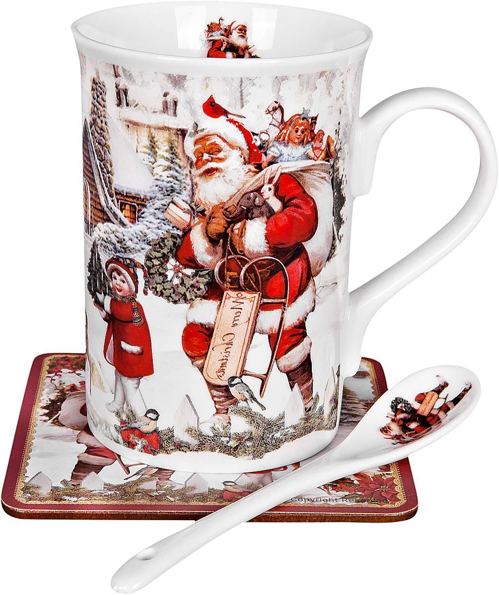 Кружка Mister Christmas Приятная компания, с ложкой, с подставкой, 3 предметаBR-M13-NНовогодняя кружка Mister Christmas Приятная компания изготовлена из высококачественного фарфора и декорирована изображением Деда Мороза и мальчика. В комплект входят ложка и подставка под горячее. Такие оригинальные предметы великолепно украсят кухонный интерьер, а также станут отличным подарком для ваших друзей и близких в преддверии Нового года. Предметы упакованы в красивую подарочную коробку. Высота кружки: 11 см.