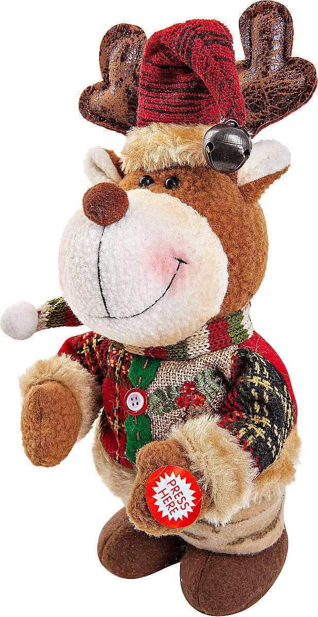 Игрушка новогодняя Mister Christmas Олень, электромеханическая, высота 33 смCHL-244DRНовогодняя пляшущая и поющая игрушка Mister Christmas Олень послужит оригинальным подарком в преддверии Нового года. Внешний вид сувенира весьма незатейлив. Изделие выполнено в виде оленя и дополнено колпаком с бубенчиком. При нажатии игрушка начинает двигаться в такт песни (PSY - Gangnam Style). Несмотря на столь ритмичные движения, механизм игрушки прослужит очень и очень долго. Все материалы, входящие в состав игрушки, прошли тщательные проверки и отличаются высочайшим качеством. Так же стоит отметить и то, что все материалы экологичны и безопасны. Работает от батареек (входят в комплект). Собираясь на празднование Нового года, прихватите с собой новогоднюю музыкальную игрушку Mister Christmas Олень, ведь это подарок, который говорит сам за себя! Высота игрушки: 33 см.