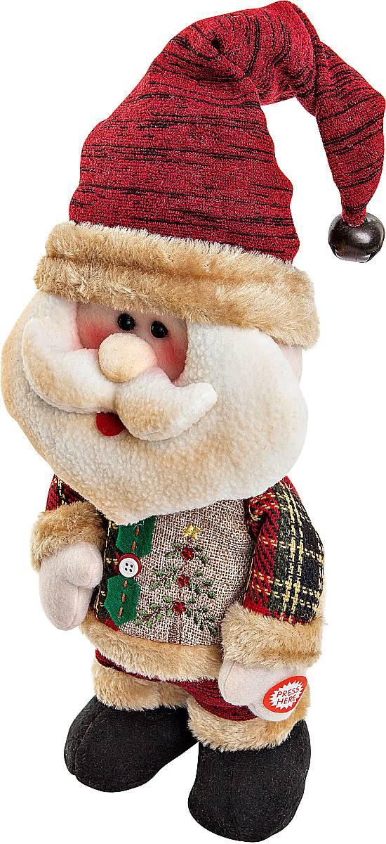 Игрушка новогодняя Mister Christmas Дед Мороз, электромеханическая, высота 33 смCHL-244SNНовогодняя пляшущая и поющая игрушка Mister Christmas Дед Мороз послужит оригинальным подарком в преддверии Нового года. Внешний вид сувенира весьма незатейлив. Изделие выполнено в виде Деда Мороза и дополнено колпаком с бубенчиком. При нажатии игрушка начинает двигаться в такт песни (PSY - Gangnam Style). Несмотря на столь ритмичные движения, механизм игрушки прослужит очень и очень долго. Все материалы, входящие в состав игрушки, прошли тщательные проверки и отличаются высочайшим качеством. Так же стоит отметить и то, что все материалы экологичны и безопасны. Работает от батареек (входят в комплект). Собираясь на празднование Нового года, прихватите с собой новогоднюю музыкальную игрушку Mister Christmas Дед Мороз, ведь это подарок, который говорит сам за себя! Высота игрушки: 33 см.
